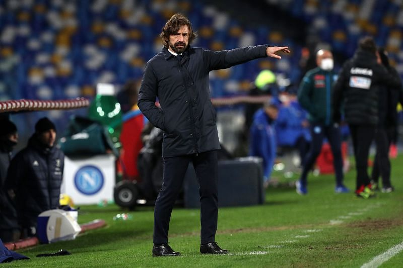 Juventus manager Andrea Pirlo looks on during the Serie A clash against Napoli