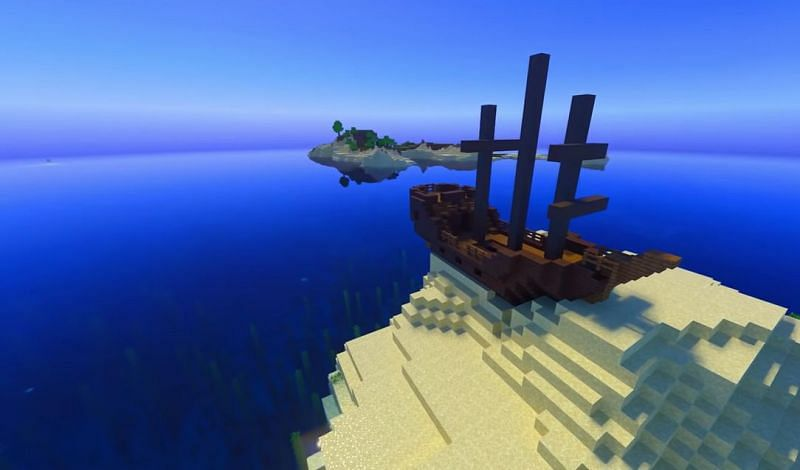 A fully intact shipwreck on a small island in Minecraft (Image via Minecraft & Chill/YouTube)