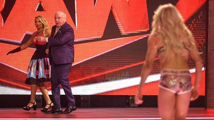 Lacey Evans and Ric Flair (left); Charlotte Flair (right)