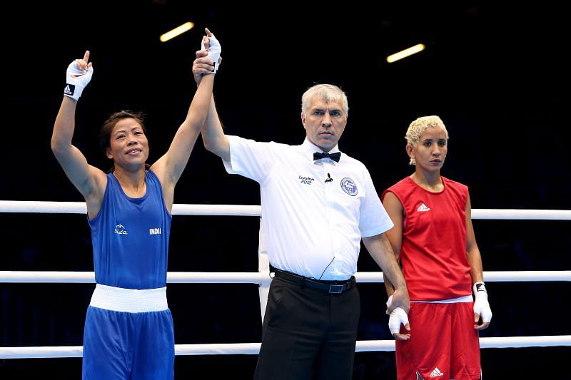 Mary Kom winning the Quarterfinals at the 2012 London Olympics
