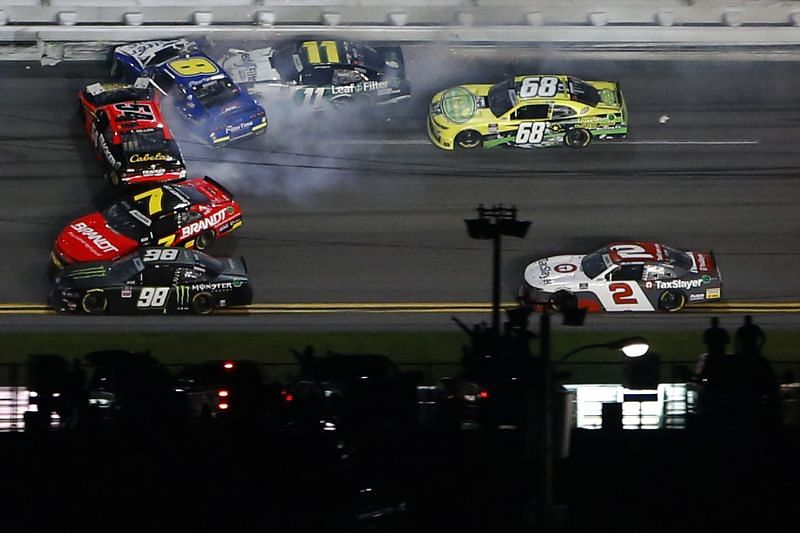 Ty Dillon (54), Justin Allgaier (7) and others crash in the Xfinity Series race at Daytona. Photo/Getty Images