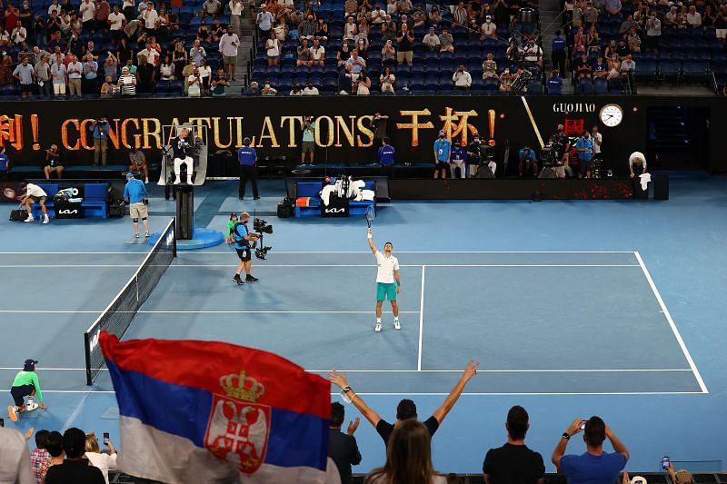 Novak Djokovic celebrates his win against Aslan Karatsev