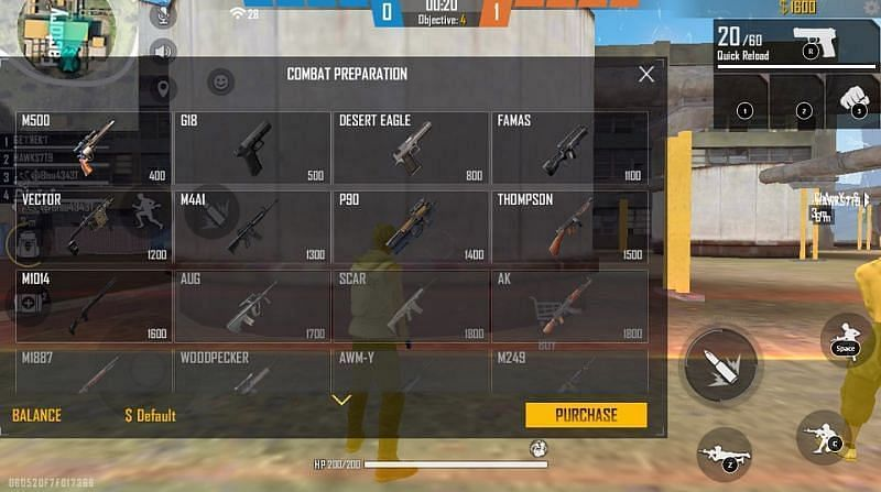 Combat Preparation, users have to purchase weapons before the round begins.