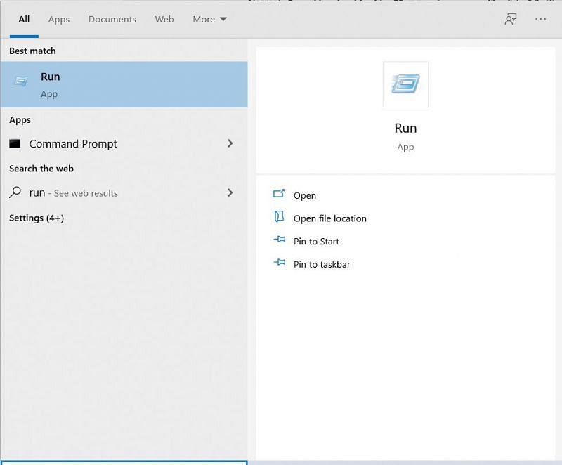 The Run App (Image via Windows 10)