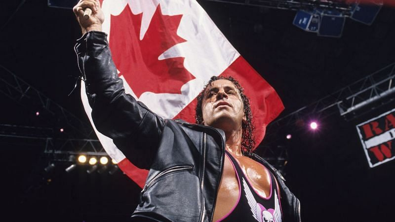 Bret Hart with the Canadian flag on WWE RAW