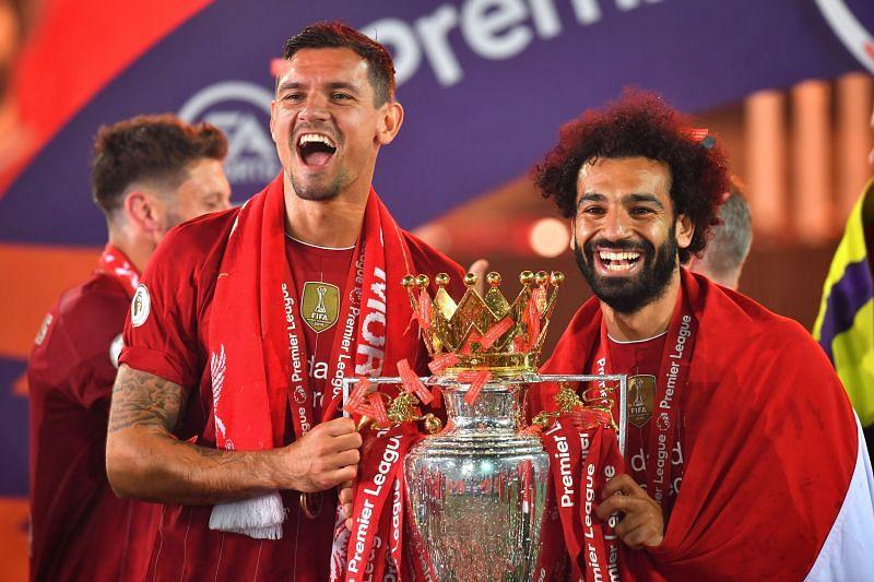 Dejan Lovren (L) and Mohamed Salah