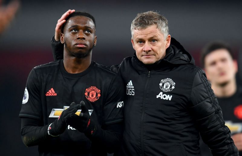 United first choice RB Aaron Wan-Bissaka (L) with manager Ole Gunnar Solksjaer
