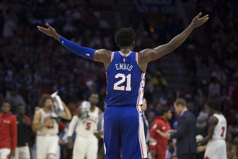Joel Embiid #21 of the Philadelphia 76ers will face off against Zach LaVine and the Chicago Bulls on Friday