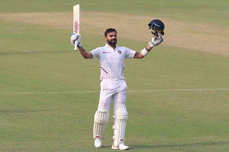 Virat Kohli celebrates a century for Team India