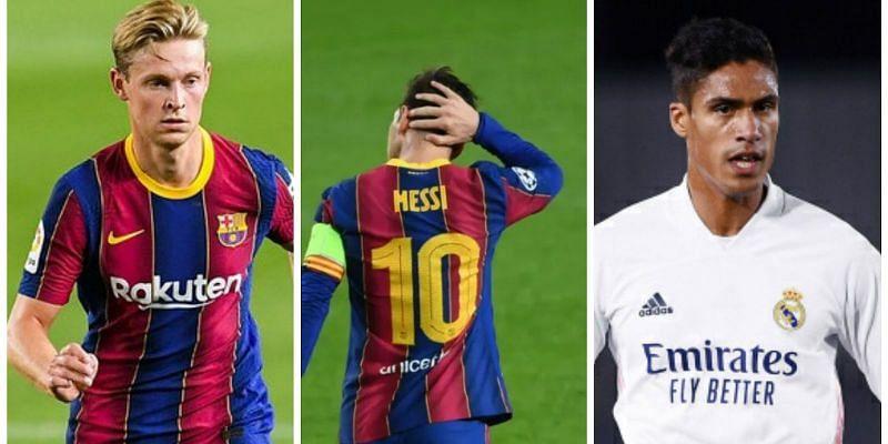 Frenkie de Jong (left), Lionel Messi (center), and Raphael Varane (right)