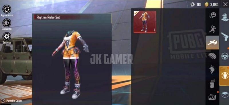 Rhythm Rider Set (Image via JK Gamer - PUBG Mobile Lite / YouTube)