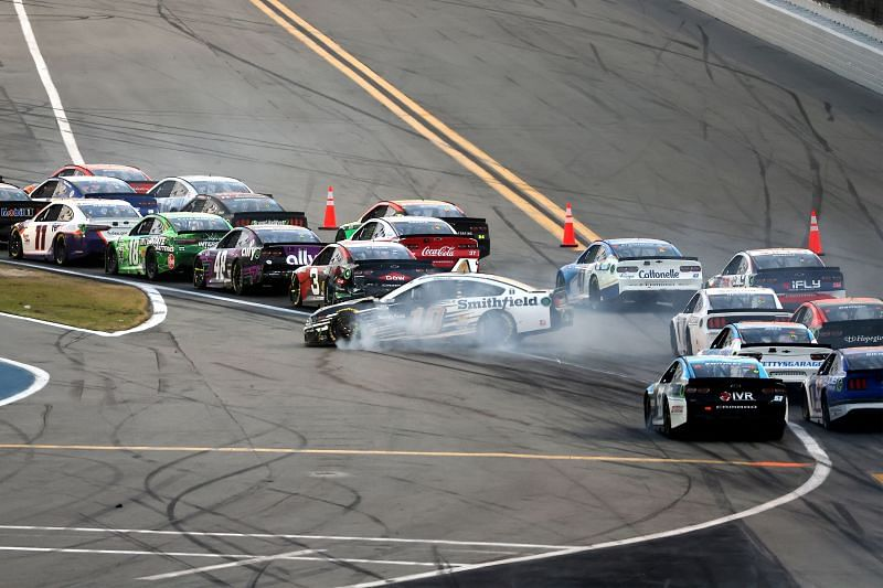 Aric Almirola spins in the NASCAR Cup Series O'Reilly Auto Parts 253 At Daytona. Photo/Getty Images