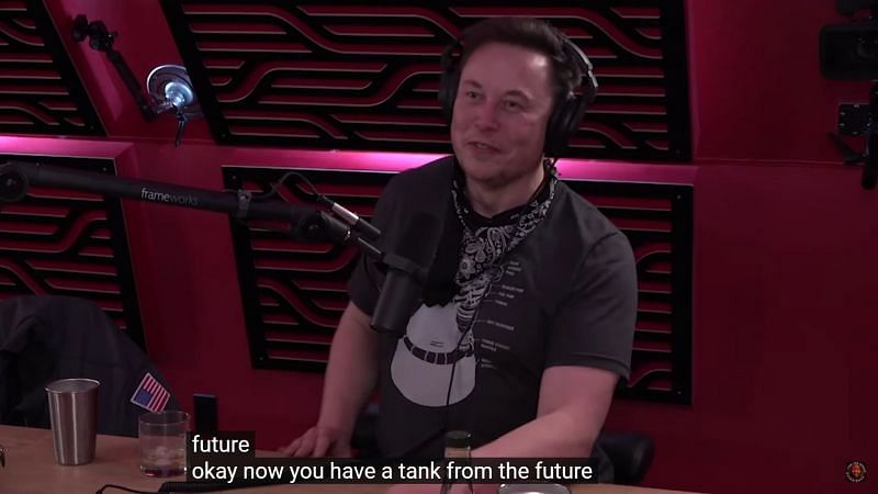Elon jokingly referring to the Cybertruck as a tank from the future (Image Via YouTube/PowerfulJRE)