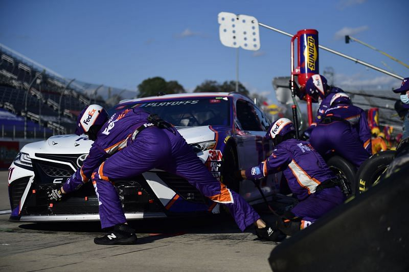 Josh Shipplett also serves as the tire carrier for Denny Hamlin in the Cup Series. Photo by Jared C. Tilton/Getty Images