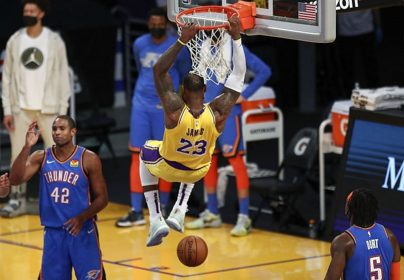 LeBron James dunks for the Los Angeles Lakers.