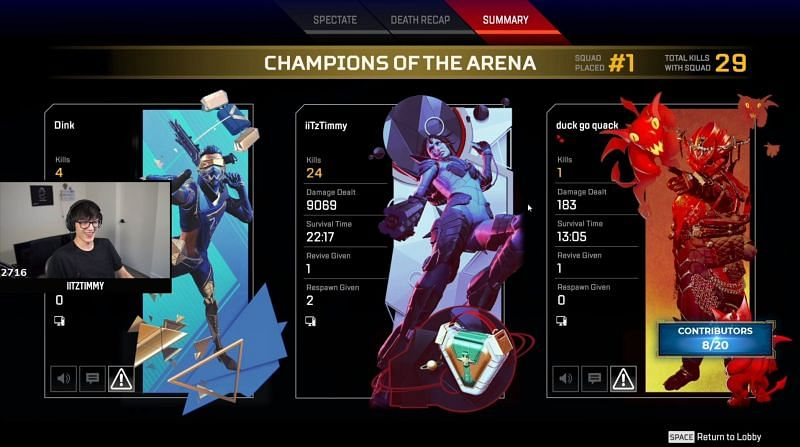 iiTzTimmy recently shattered the Apex Legends damage record (image via iiTzTimmy Twitter)