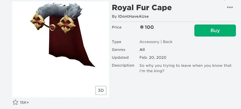 The Royal Fur Cape back accessory from the Roblox Avatar Shop (Image via Roblox.com)