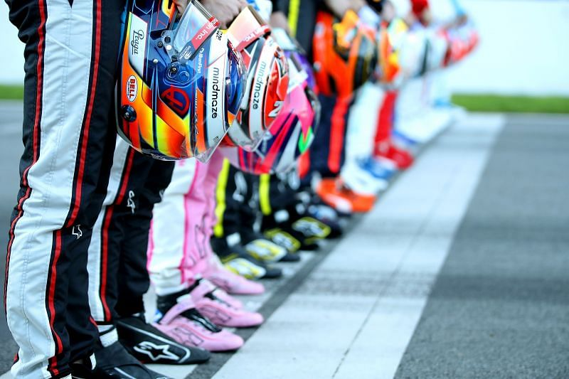Drivers line up at the start of the 2020 Formula 1 season. (Photo by Mark Thompson/Getty Images)