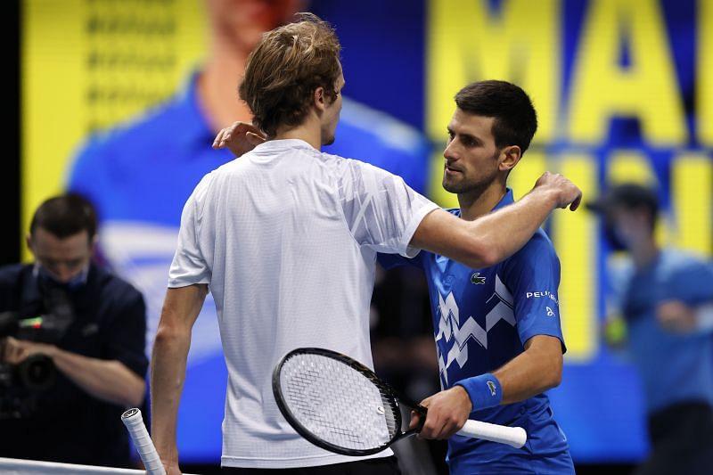 Alexander Zverev (L) and Novak Djokovic