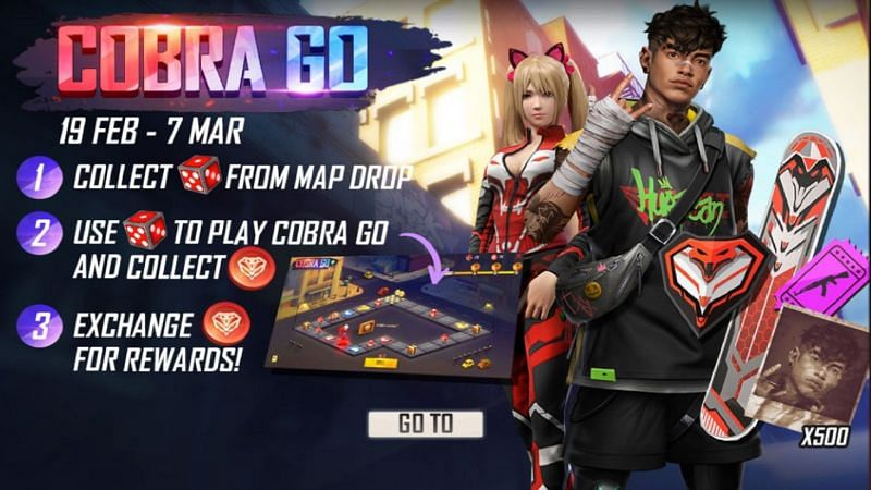 The Cobra Go event in Garena Free Fire