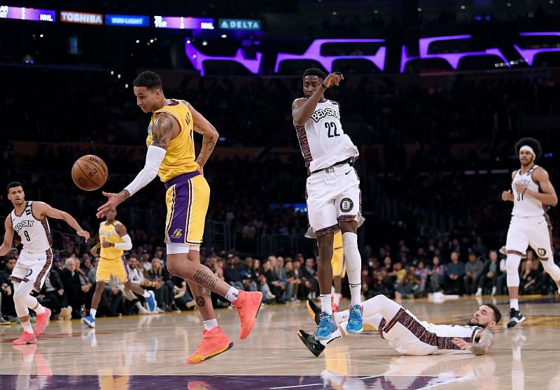 Kyle Kuzma of the LA Lakers in action against the Brooklyn Nets