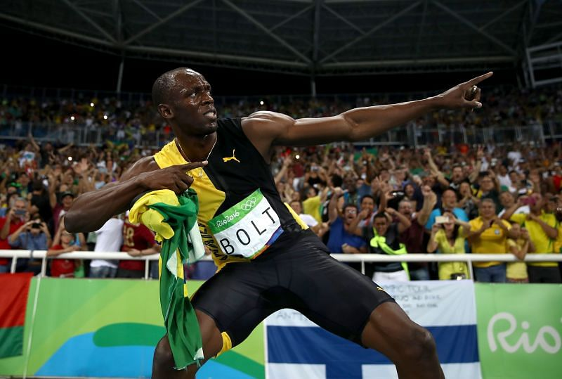 Usain Bolt after winning the 100m sprint at Rio Olympics