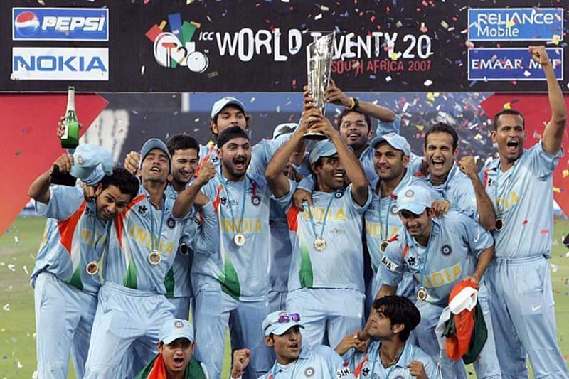 Yusuf Pathan celebrating with the Indian team on winning the 2007 T20 World Cup.
