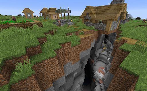 A ravine in Minecraft