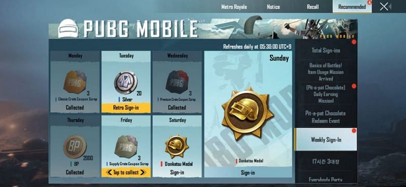 Log-in rewards in PUBG Mobile Kr