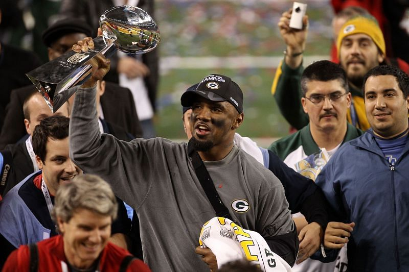 Charles Woodson celebrates his first Super Bowl Championship
