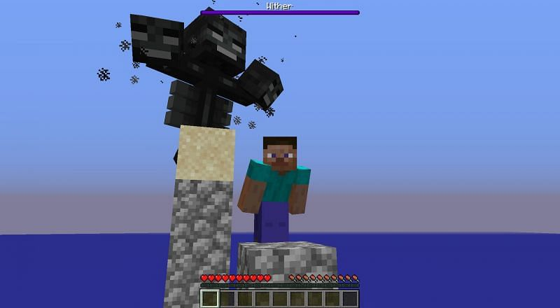 A Wither sneaks up on an unassuming Steve... (Image via Rays_Works on Reddit)