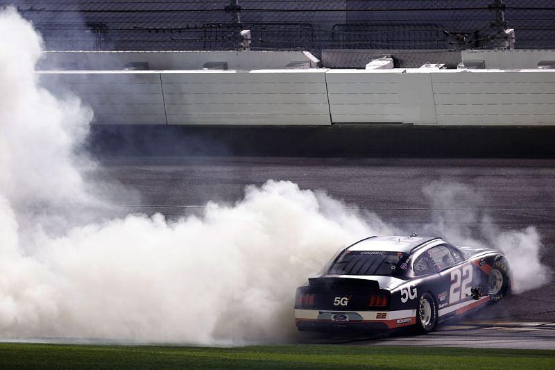 Austin Cindric celebrates his NASCAR Xfinity Series win at Daytona. Photo/Getty Images