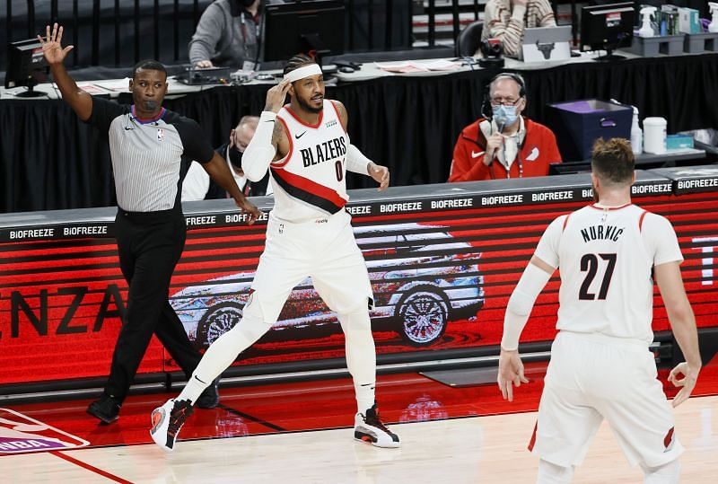 Carmelo Anthony of the Portland Trail Blazers reacts after making a three-point basket against the Chicago Bulls (Steph Chambers/Getty Images)