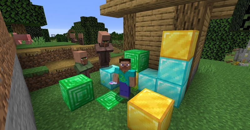 Stever surronded by gold, diamond, and emerald blocks while under the Luck status effect in Minecraft. (Image via Minecraft)