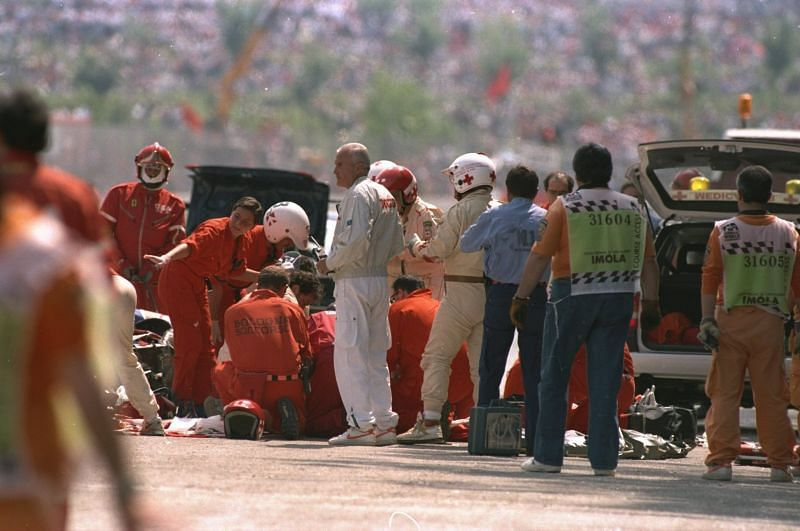 Medical team surrounds Ayrton Senna after he crashes during the San Marino Grand Prix. Photo: Getty Images
