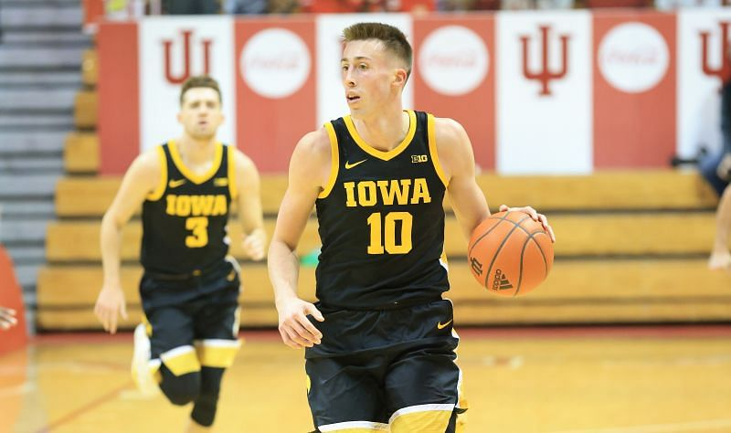 Joe Wieskamp #10 of the Iowa Hawkeyes