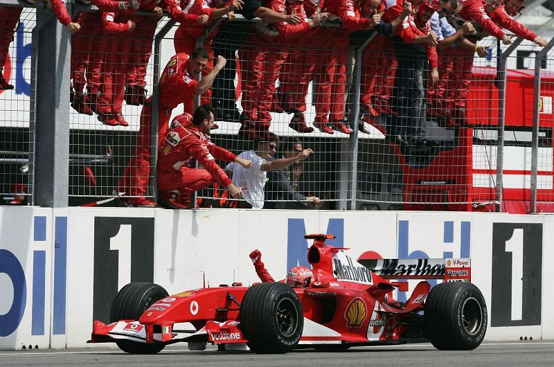 Michael Schumacher was head and shoulders above everyone while driving in wet weather conditions.