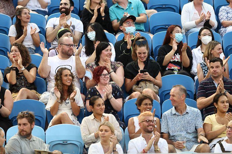 Fans on Margaret Court Arena during the 2021 Australian Open