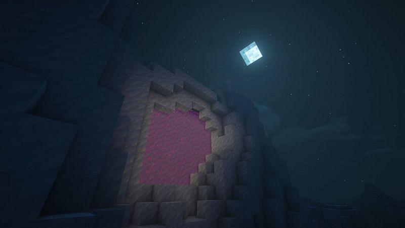 A massive portal encased in ice (Image via Minecraft)