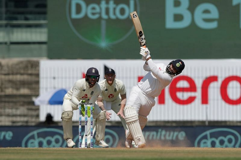 Rishabh Pant smashes one over midwicket during his unbeaten knock.