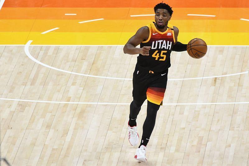 Donovan Mitchell (#45) of the Utah Jazz