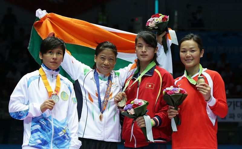 Mary Kom (Second from left): Bronze medal in Boxing