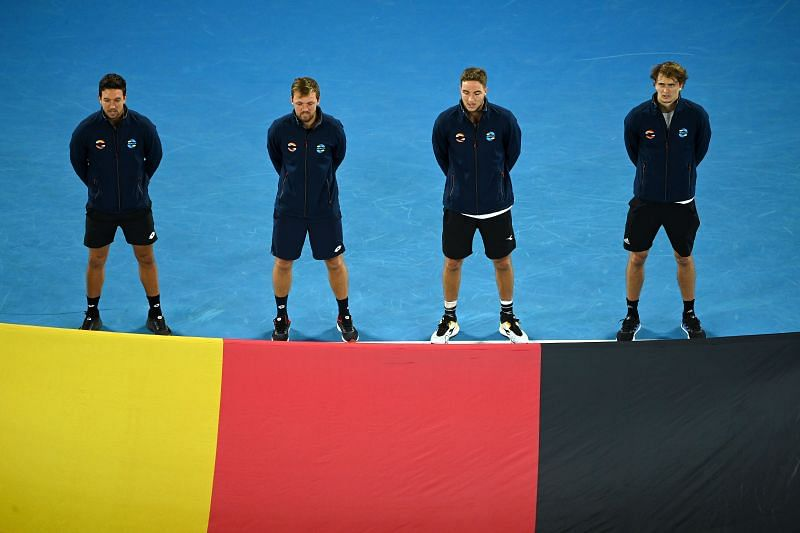 Alexander Zverev with the German team at the 2021 ATP Cup