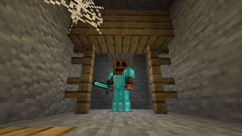 Monke like pumpkin (Image via Minecraft)