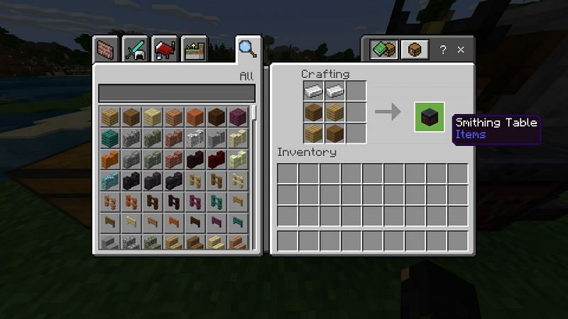 Crafting a smithing table