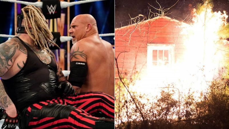 The Fiend and Goldberg (left); Wyatt Family Compound (right)