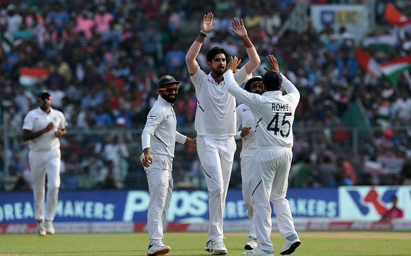 Ishant Sharma celebrates a wicket for India
