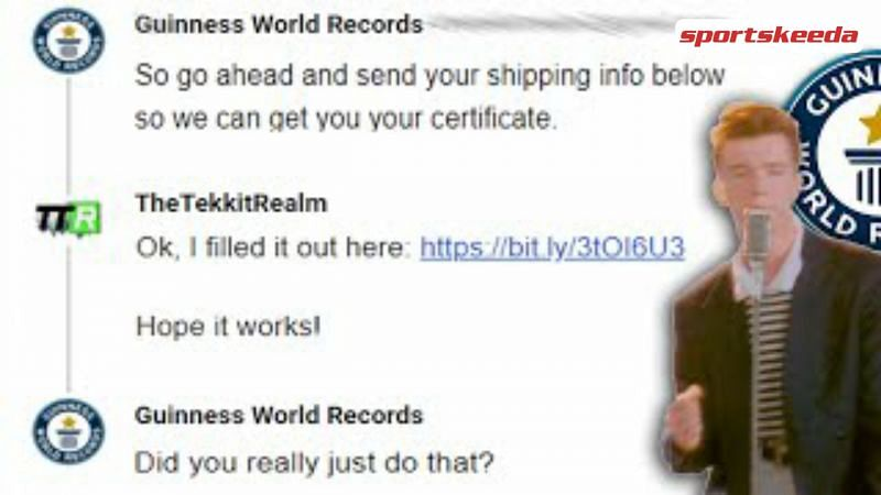 Rick Rolling Guinness World Records (Image Via Sportskeeda)