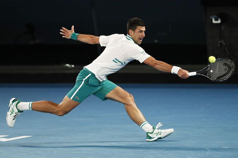 Novak Djokovic in action against Daniil Medvedev