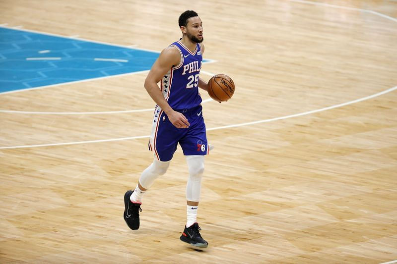 Ben Simmons brings the ball up the court for the Philadelphia 76ers